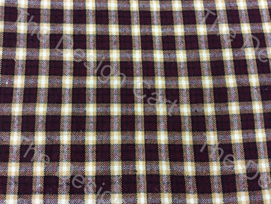 Maroon Yellow Cross Check Checked Wool Fabric