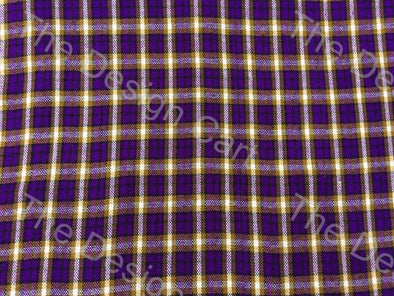 Violet Yellow Cross Check Checked Wool Fabric