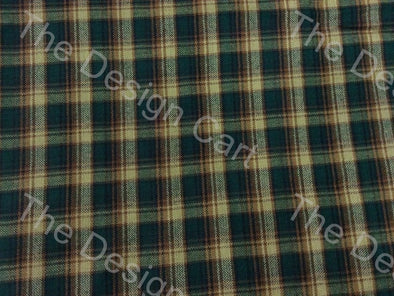 Green Yellow Cross Check Checked Wool Fabric