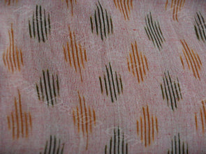 Peach Green Fish Design Ikat Fabric