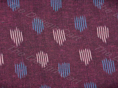 Maroon Cream Blue Design Ikat Fabric