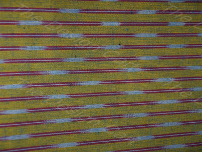 Yellow Purple Dual Line Design Ikat Fabric