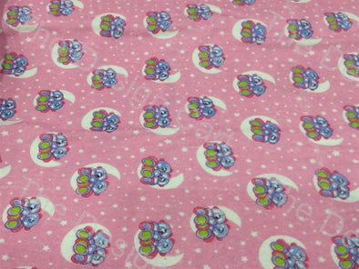 Baby Pink Blue Octopus Printed Flannel Cotton Fabric