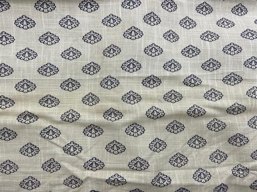 Off White Navy Blue Floral Flex Print Cotton Fabric