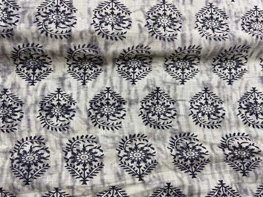 Light Gray Floral Flex Print Cotton Fabric