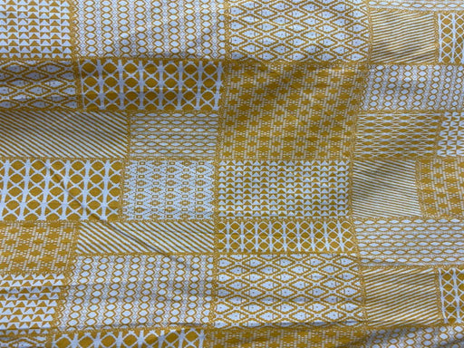 Yellow White Geometric Flex Print Cotton Fabric