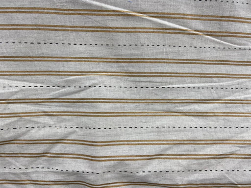 Off White Mustard Stripes Flex Print Cotton Fabric