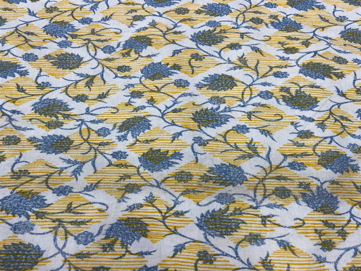 Off White Yellow Blue Geometric Floral Flex Print Cotton Fabric