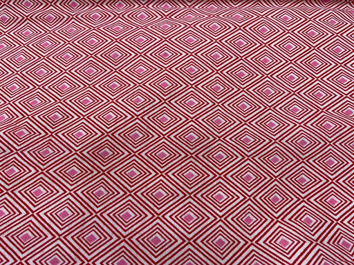 Red Pink Geometric Flex Print Cotton Fabric