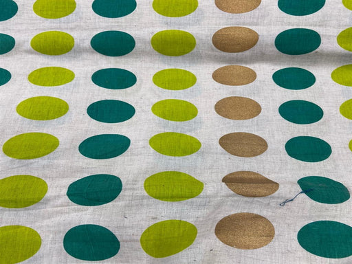 Off White Green Polka Dots Flex Print Cotton Fabric