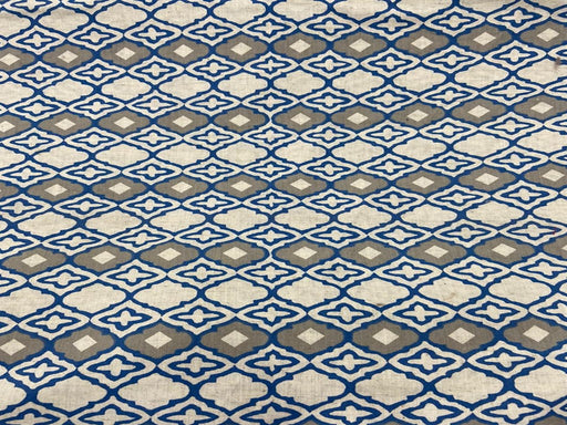 Off White Gray Blue Geometric Flex Print Cotton Fabric