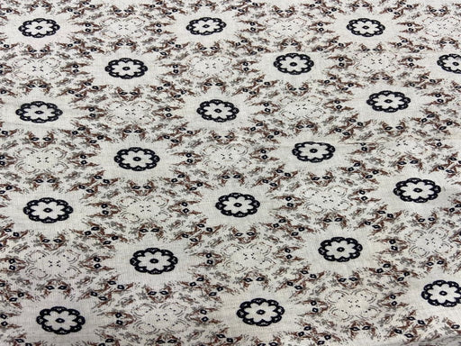 Off White Brown Black Floral Flex Print Cotton Fabric