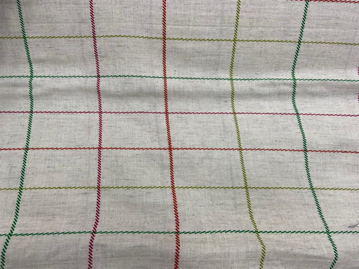 Off White Multicolour Checks Flex Print Cotton Fabric