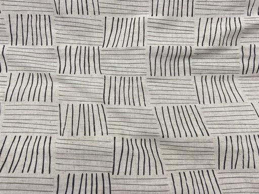 Off White Black Geometric Flex Print Cotton Fabric