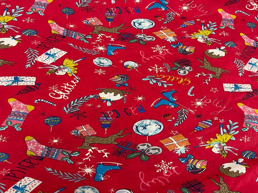 Red Printed Cotton Poplin Fabric