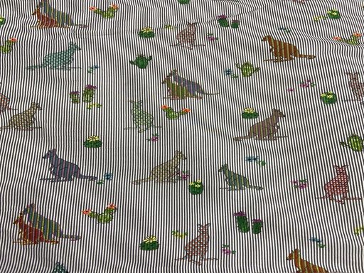 Gray Multicolour Kangaroos Printed Cotton Poplin Fabric