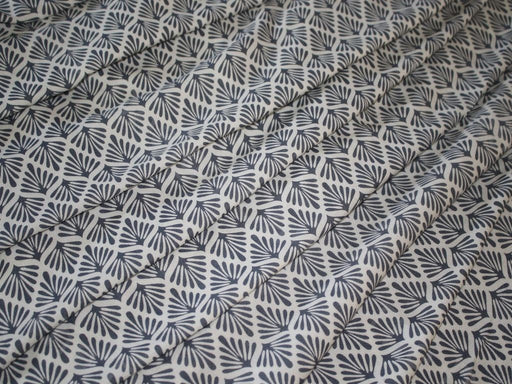 Gray White Leaves Design Rayon Fabric