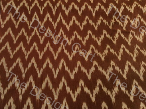 Brown Yellow Chevron Design Cotton Ikat Fabric