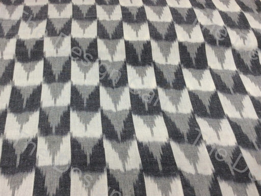 Black White Arrow Check Design Cotton Ikat Fabric - The Design Cart