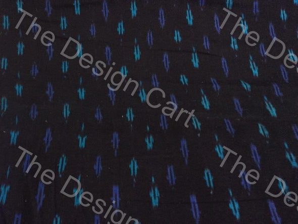 Black Blue Long Leaf Design Cotton Ikat Fabric