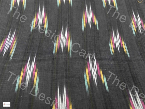 Black Multicolour Moth Design Cotton Ikat Fabric