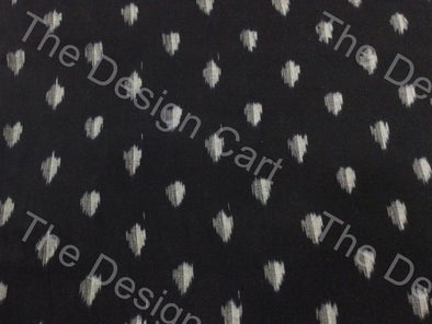 Black Gray Fading Leaf Design Cotton Ikat Fabric