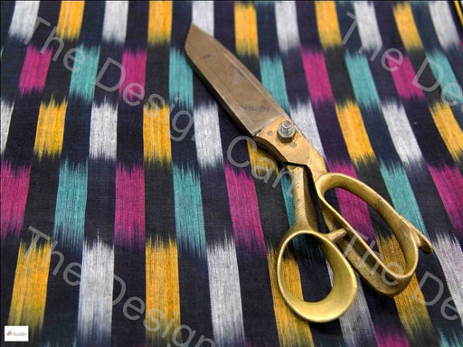 Black Multicolour Checkered Design Cotton Ikat Fabric - The Design Cart