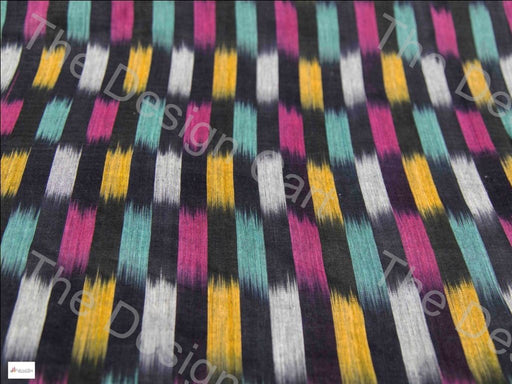 Black Multicolour Checkered Design Cotton Ikat Fabric