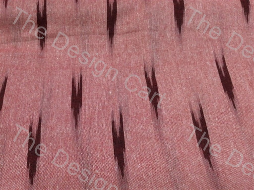 Red Brown Flying Arrows Design Cotton Ikat Fabric