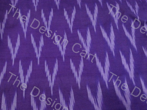 Violet White Down Arrows Design Cotton Ikat Fabric - The Design Cart