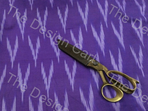 Violet White Down Arrows Design Cotton Ikat Fabric