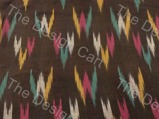 Mud Brown Multicolour W Design Cotton Ikat Fabric