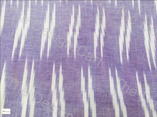 Purple White Double Dash Design Cotton Ikat Fabric - The Design Cart