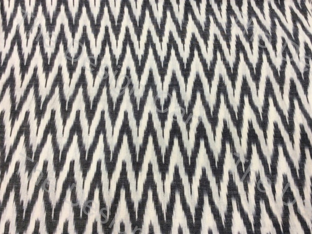 White Black Zigzag Design Cotton Ikat Fabric (614399246370)