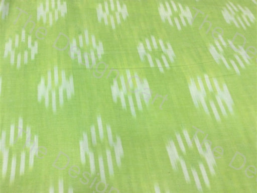 Bright Green White Pixel Zero Design Cotton Ikat Fabric - The Design Cart