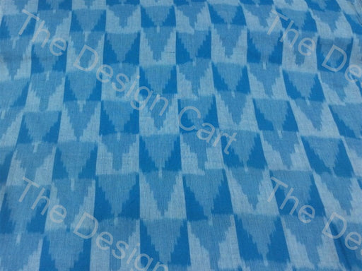 White Turquoise Checkered Arrows Design Cotton Ikat Fabric - The Design Cart