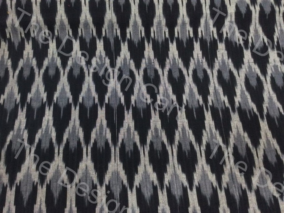 Black Cream / Off White Jacquard Design Cotton Ikat Fabric - The Design Cart