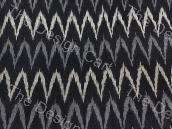 Black Gray Chevron Design Cotton Ikat Fabric