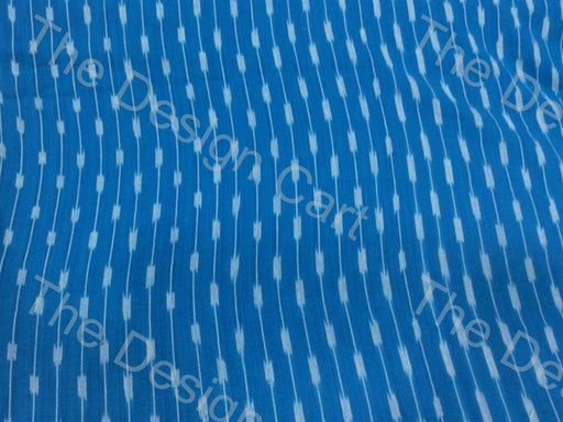 Blue White Linked Sparks Design Cotton Ikat Fabric