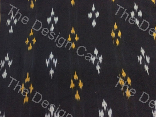 Black White & Yellow 4 Dots Design Cotton Ikat Fabric - The Design Cart