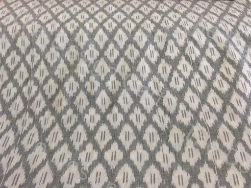 Gray White Jacquard Design Cotton Ikat Fabric - The Design Cart