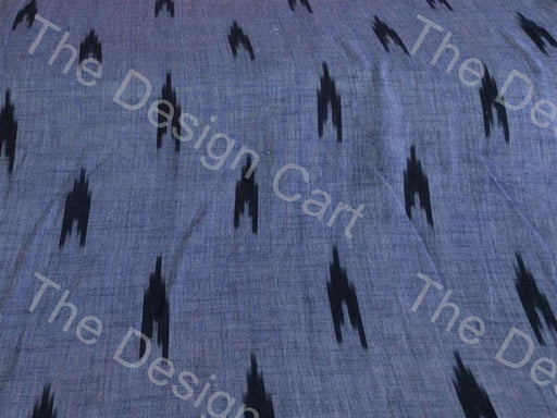 Faded Blue Black Up Arrows Design Cotton Ikat Fabric