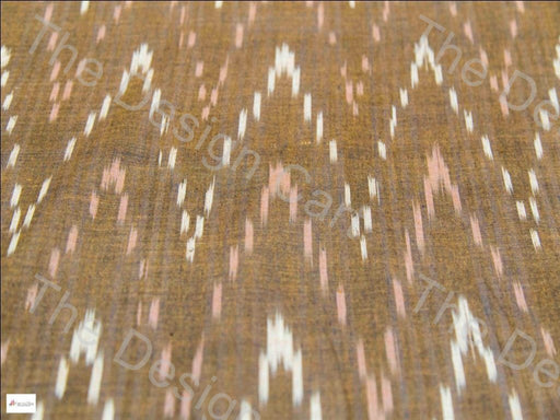 Brown Pink & White Chevron Design Cotton Ikat Fabric