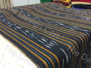 Black Yellow Dotted Lines Design Cotton Ikat Fabric