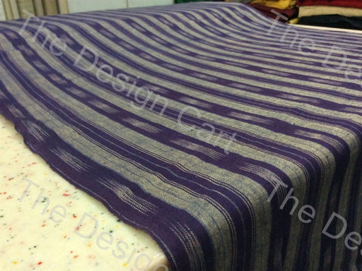 Violet White Straight Stripe Design Cotton Ikat Fabric - The Design Cart