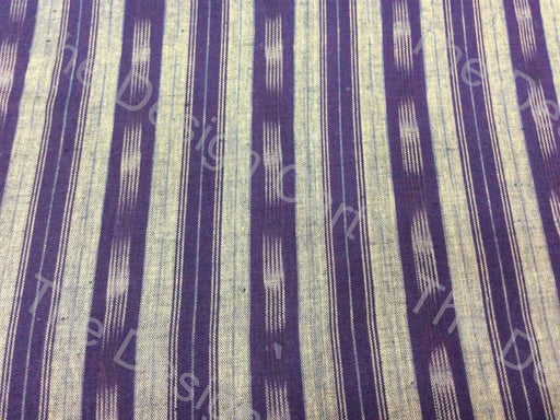 Violet White Straight Stripe Design Cotton Ikat Fabric