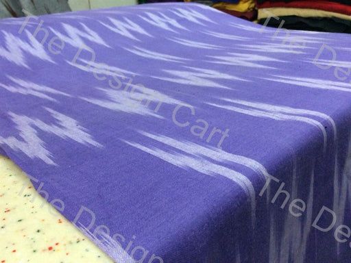 Purple White W Printed Design Cotton Ikat Fabric