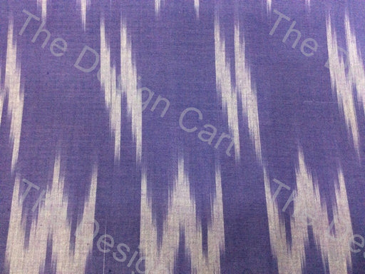 Purple White W Printed Design Cotton Ikat Fabric - The Design Cart