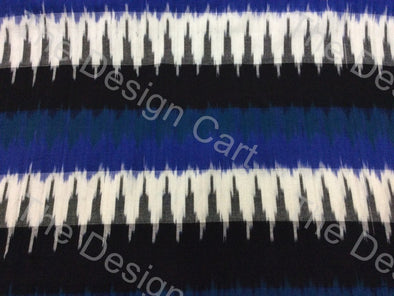 Blue Black Peak Waves Design Cotton Ikat Fabric - The Design Cart