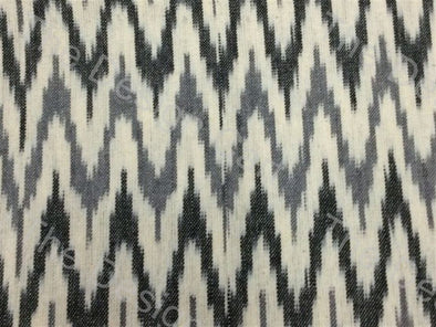 Black Gray Cream / Off White Design Cotton Ikat Fabric